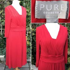 PURE Collection Stretch Jersey Dress Fit &Flare Softly Draped Red UK18 Christmas