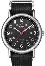 Mens Timex Indiglo Weekender Black Nylon Canvas Black Dial Sport Watch T2N647