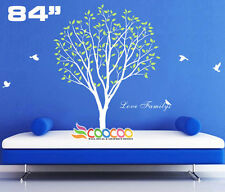 """Wall Decor Decal Sticker Mural Removable vinyl large tree birds love family 84""""H"""