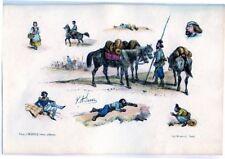 Lithographie aquarellée de Victor Adam, Les Cosaques