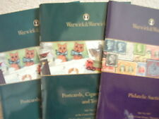 Warwick Philatelic ,Postcards,cards and toys Auction Magazine 2018-19,set of 3