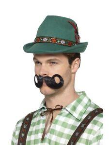 Deluxe Mens Bavarian Trenker Hat Green Oktoberfest German Fancy Dress Accessory