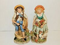Young Country Folk Lads Figurine HOME INTERIORS Porcelain - Set Pair of 2 - NICE