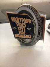 OLD STYLE HARTFORD TIRE DIE CUT DOUBLE SIDE SERVICE STATION DISPLAY SIGN FLYINGA