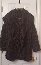 Exc Adrienne Landau Faux Fur Shawl Collar Jacket Feels incredible Gray Sz M/L