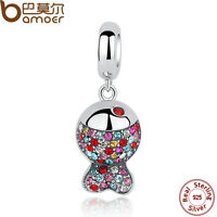 Bamoer Solid S925 Sterling Silver Fish Charm With Colourful Crystal Fit Bracelet