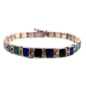 "VTG Estate Artisan Sterling Silver, Malachite & Lapis 7"" Bracelet! 191"