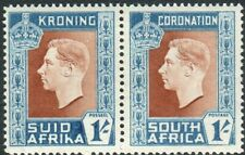 SOUTH AFRICA-1937 1/- Red Brown & Turq Blue HYPHEN OMITTED.  UMM pair Sg 75a