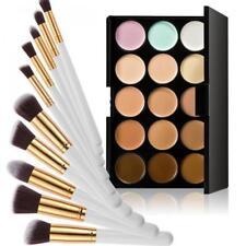 Pro 15 Color Makeup Contour Concealer Face Cream Palette + 10pcs Brushes Kit
