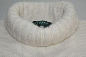 New LAUREN RALPH Turtleneck Peak Cream Wool ANGORA Snowflake Sweater Sequins M