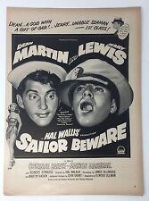 Original Print Ad 1952 Movie Dean Martin Jerry Lewis SAILOR BEWARE