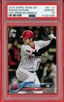 2018 Topps Team Set (Angels) #A-17 SHOHEI OHTANI RC Rookie PSA 10 GEM MT