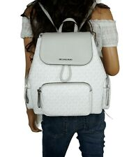 MICHAEL KORS ABBEY LG CARGO BACKPACK PVC LEATHER MK WHITE GREY