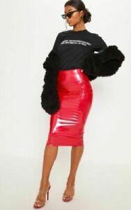 Plus Size Womens PU Vinyl Bodycon Midi Pencil Skirt Ladies Night Out Party Skirt