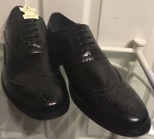 New Mens Black Leather Lined 5 Eyelet Lace Up Formal Brogue Shoes Size 9 UK