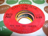 Pop 45 PATTI PAGE Hush, Hush, Sweet Charlotte on Columbia