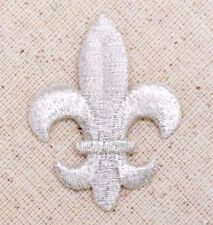 Medium Silver Fleur De Lis Saints/Religious - Iron on Applique/Embroidered Patch