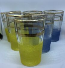 1950s Set Glasses 6 Frosted Gilded Blue Yellow Juice Spirit Vintage Retro