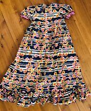 Vintage Child Girls Floral Frilly Dress Sz 5 - 7 Retro  Hippy Handmade