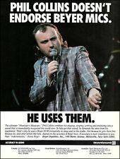 Phil Collins 1986 Beyer M 88 Microphones advertisement 8 x 11 mic ad