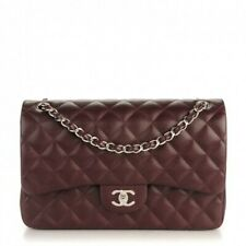 CHANEL Burgundy Quilted Caviar Leather Jumbo Classic Double Flap Bag