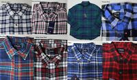 CHAPS PERFORMANCE BUTTON FRONT PLAID FLANNEL SHIRT BIG & TALL CHEST POCKET NEW