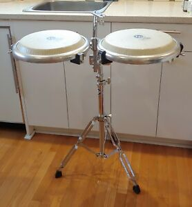LATIN PERCUSSION COMPACT CONGA DRUMS TANDEM with LP STAND 2 CONGAS DRUMS