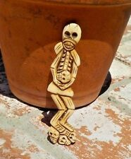 DAY OF THE DEAD SKELETON & SKULL S HAND CARVED BEAD PENDANT WITH FREE SHIPPING