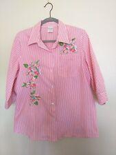 Blair Light Pink Straps Embroid. Floral WMN Shirt 3/4 sleeves Size M Cotton/Pol