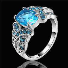 Aquamarine Blue CZ Wedding Engagement Ring white Rhodium Plated Size 9