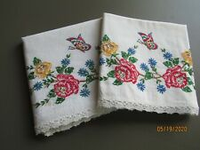 Vintage Hand Embroidered Butterfly and Roses Standard Pillowcases Pair