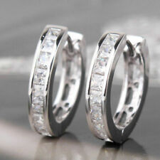 1.50Ct Princess Cut Diamond Wedding Women Hoop Huggie Earrings 14K White Gold FN