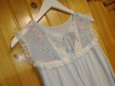 Vintage Nightgown Pale Blue With Floral Embroidery Lace Detailing And Tie Medium