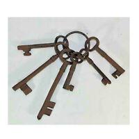"Set of 6 Cast Iron Skeleton Keys on Ring Longest 6"" - Shortest 3 1/4"" Home Decor"