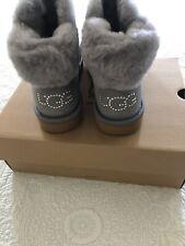 UGG Classic Bling Mini Boot  Gray SUEDE SHEEPSKIN Swarovski  Size 8 New in Box