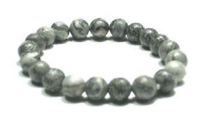 Handmade Spirit Mineral Stone Bracelets - 8 mm Gray Picasso Jasper