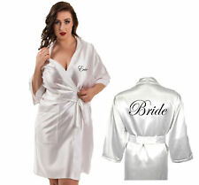 Personalised Ivory Satin Robe / Dressing Gown Wedding Bride Bridesmaid Mother