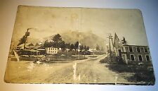 Antique American Old Western Town Landscape! Mountain! Real Photo Postcard RPPC!