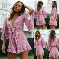 Women Sexy V-Neck Flare Sleeve Lace Printed Casual Holiday Loose Mini Dress