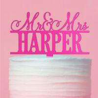 Personalised Acrylic Mr & Mrs Surname Wedding Cake Topper 12 Colours 3 Sizes