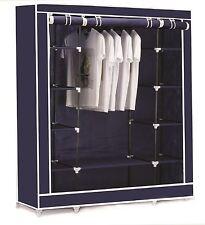 Vinsani Triple Canvas Clothes Cupboard Hanging Rail With Storage Shelves - Blue