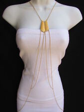 WOMEN GOLD DOUBLE METAL PLATE CLASSIC FASHION BODY CHAIN JEWELRY LONG NECKLACE