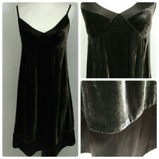 GAP Velvet Babydoll Dress Womens Size 0 Dark Brown Silk Blend Spaghetti Strap