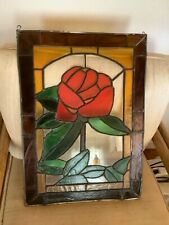 Vtg Stained Glass leaded  Window Hanging Panel Victorian Design Rose flower
