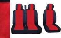 2+1 Qualitätsgewebe Sitzbezüge Schonbezüge LUX Schwarz / Rot für VW LT T4 T5