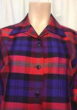 Plaid Sz Sm 100% Silk Long Sleeve Button Down Red Purple Green Ann May Brand