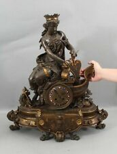 Antique PHILLIPPE MOUREY French Bronze Sculpture Mantle Clock European Symbolism