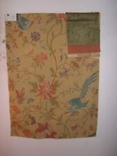 "Lee Jofa ""Uccello Lampas"" brocade floral with birds fabric remnant color gold"