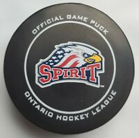 SAGINAW SPIRIT OFFICIAL OHL GAME PUCK PRO-FLEX MFG. MADE IN CANADA