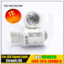 2x 7440/7443 T20 W21/5W 7014 LED Canbus Stop/Tail bulbs RED Ceramic base 12V 24V